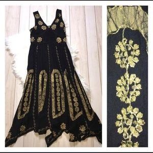 Shoreline Boho Hippie Black/Gold Maxi Cruise Dress